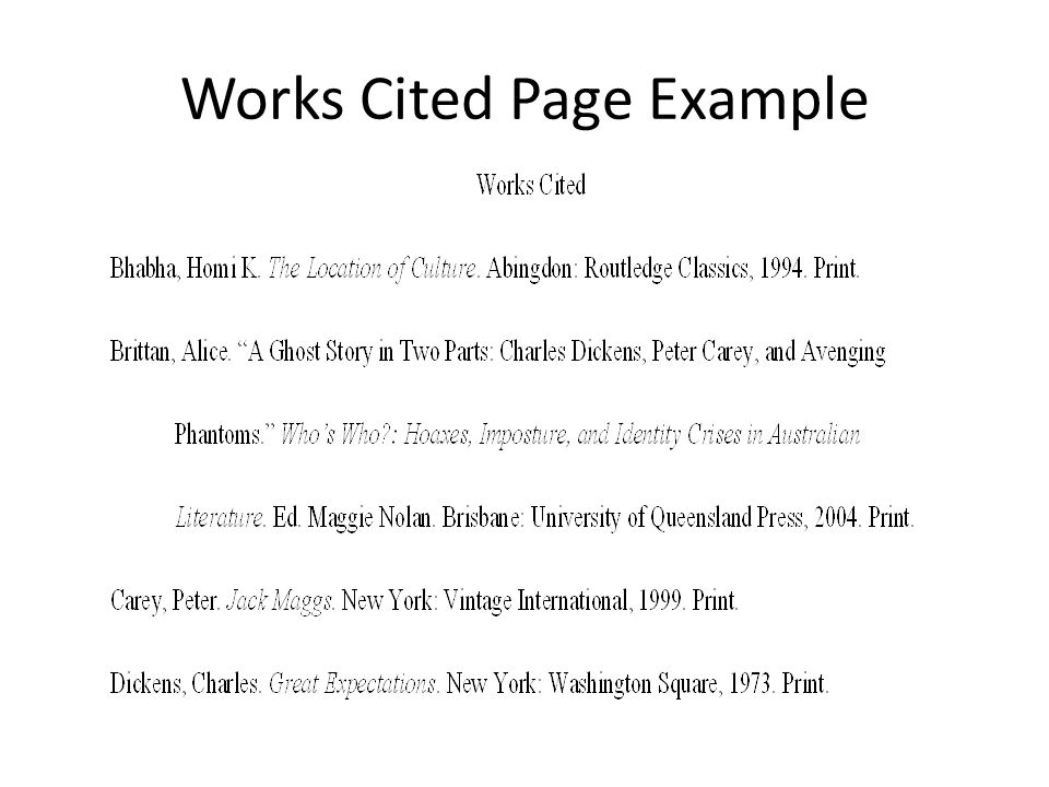 essay works cited According to mla style, you must have a works cited page at the end of your research paper all entries in the works cited page must correspond to.