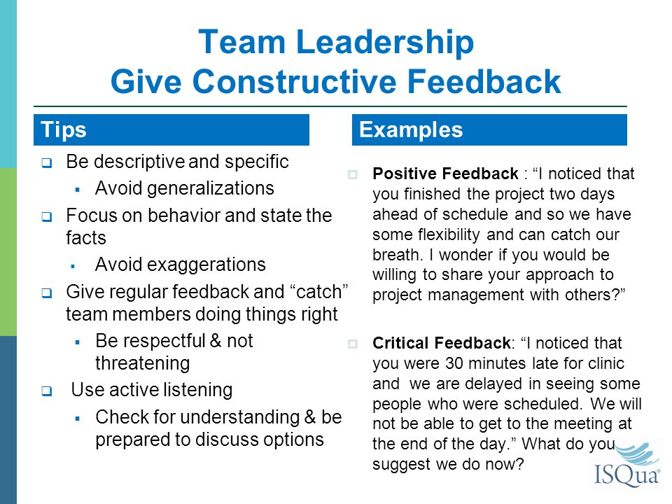 methods of giving feedback on performance of individuals and team Here are 5 ways to give great feedback based on your employee reports  the  week with reflecting on the past 5 days and taking time to learn what your team  has been up to  after all, reflection process can enhance performance by 18%   according to ken blanchard, the main reasons people resist giving feedback  are.