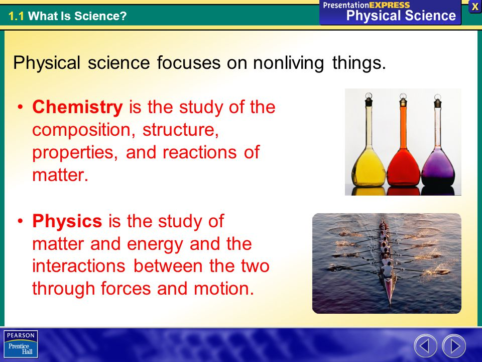 Physical science focuses on nonliving things.