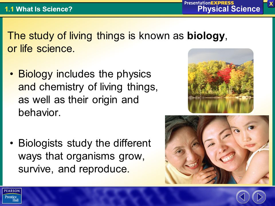 The study of living things is known as biology, or life science.