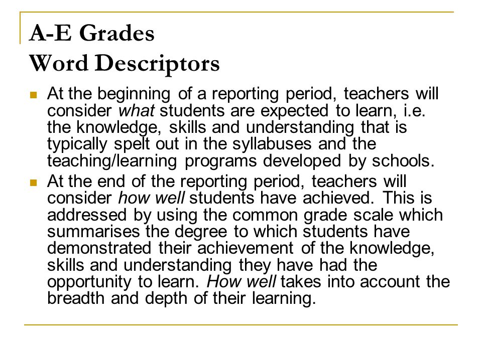 A-E Grades Word Descriptors