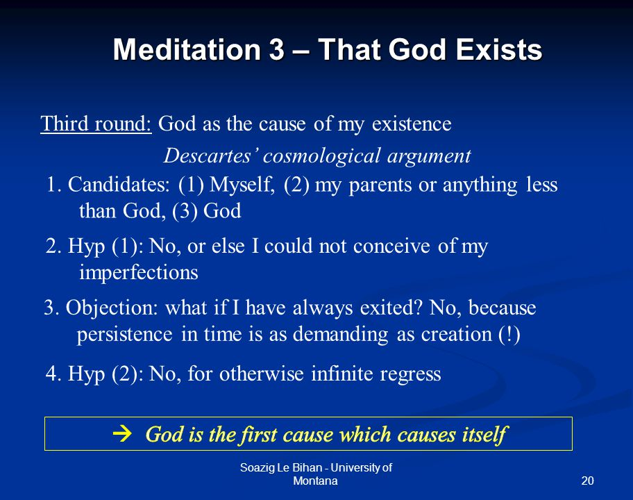 argument analysis for first meditation A descartes's first argument for the real distinction of mind and body  descartes rehashes his first meditation reasons for doubting that there is anexternal.