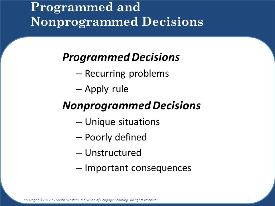 example of programmed decisions and nonprogrammed decisions Free essay: 1 compare and contrast programmed and nonprogrammed decision-making in organizations and give two realistic business examples of each of these.