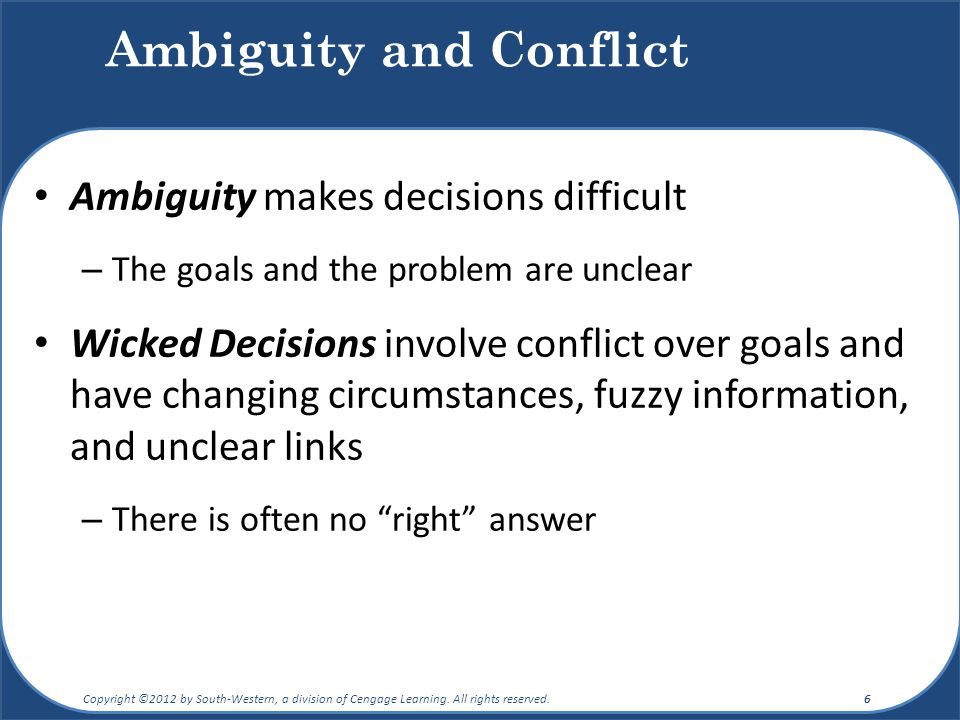 how might decision making differ for a risky versus an ambiguous situation Computational intelligence and neuroscience this design made us compare the difference of decision making between risky the ambiguous decision making.