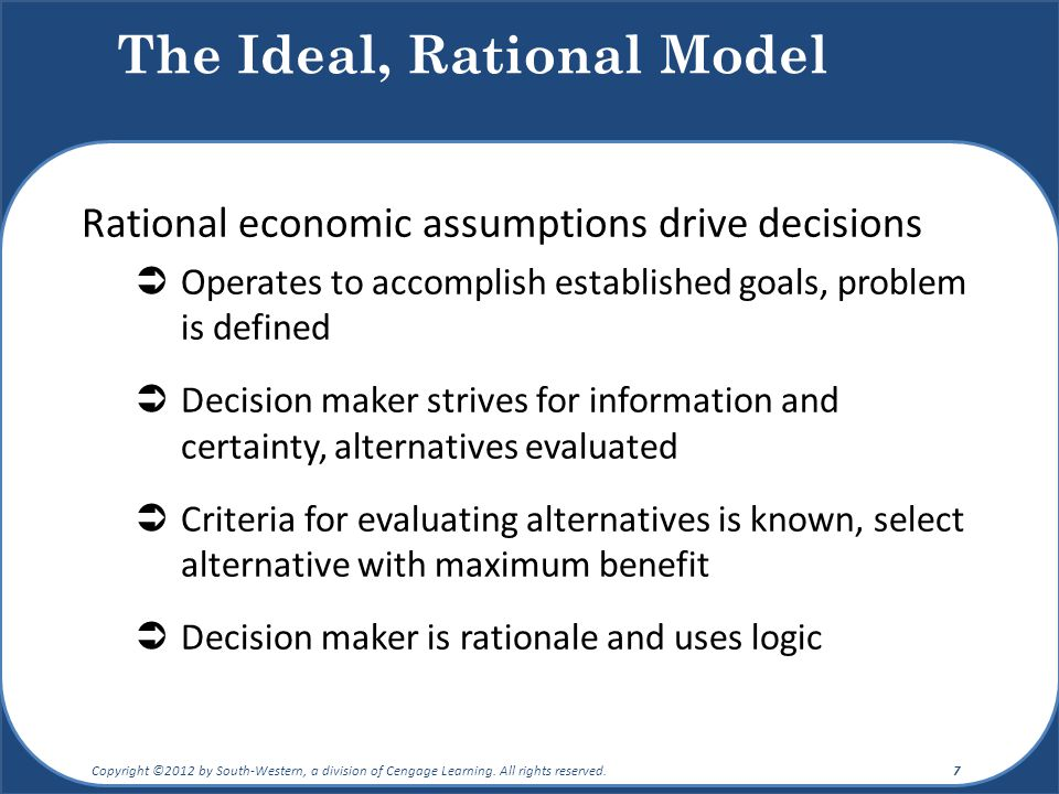the limitations of the rational economic model of decision making Limitations of decision makers in challenge to the comprehensive rationality assumptions used in economics bounded rationality economic decision-making models.