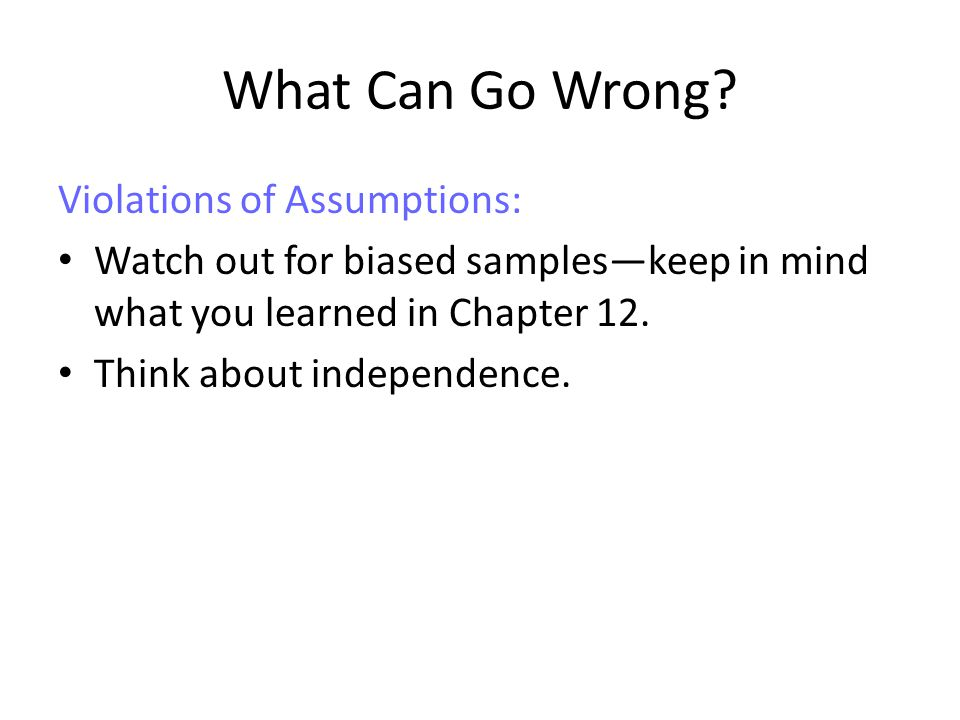 What Can Go Wrong Violations of Assumptions: