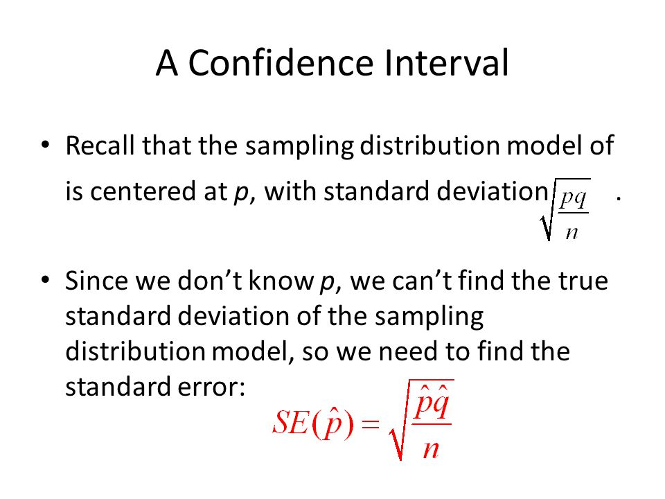 A Confidence Interval Recall that the sampling distribution model of is centered at p, with standard deviation .
