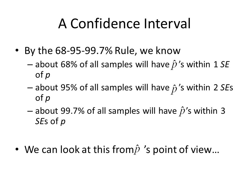 A Confidence Interval By the % Rule, we know
