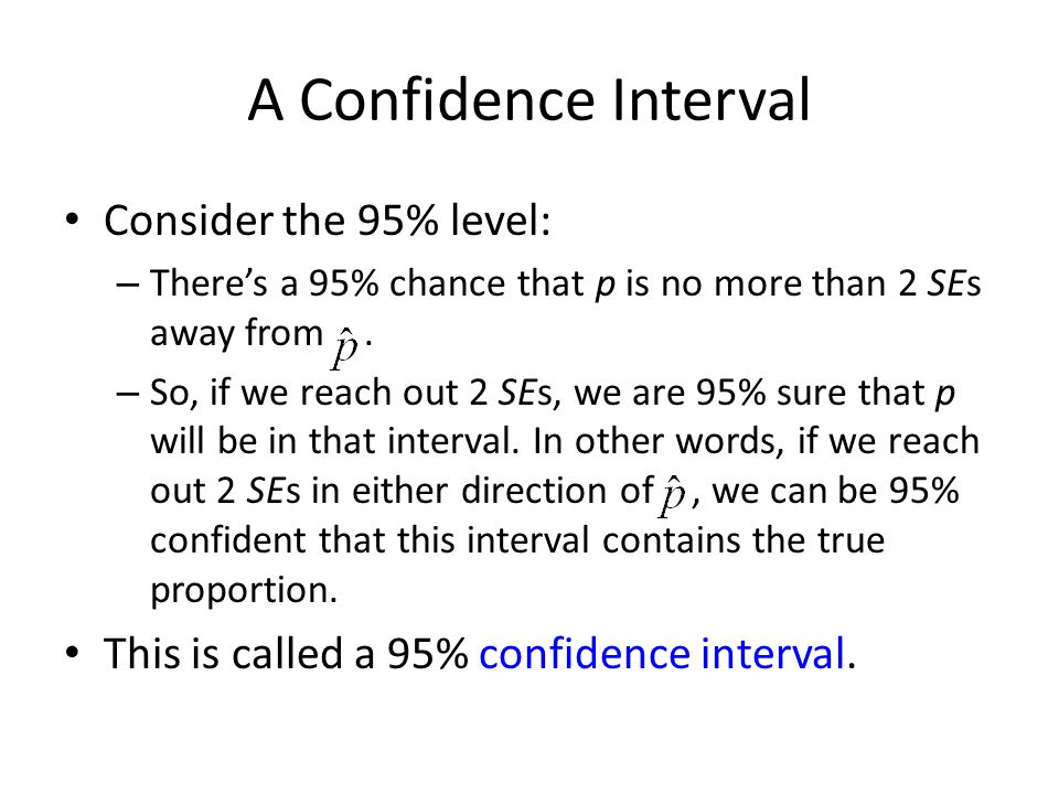 A Confidence Interval Consider the 95% level: