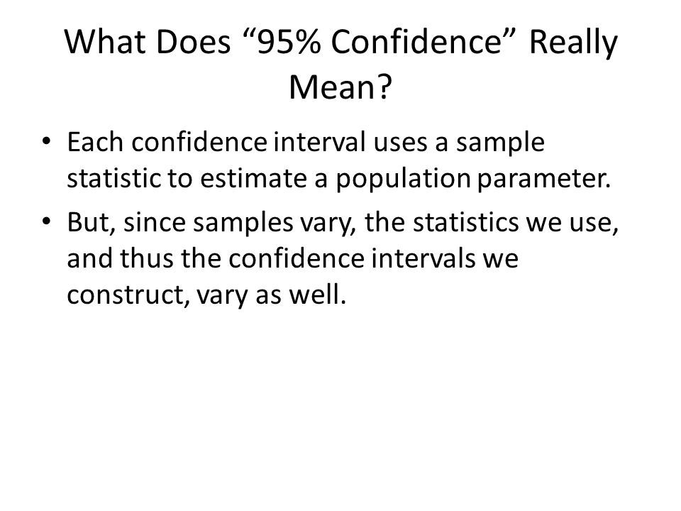 What Does 95% Confidence Really Mean