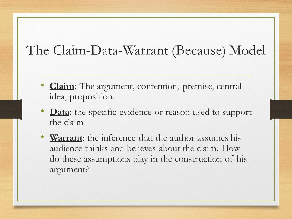 Claim data warrant essay