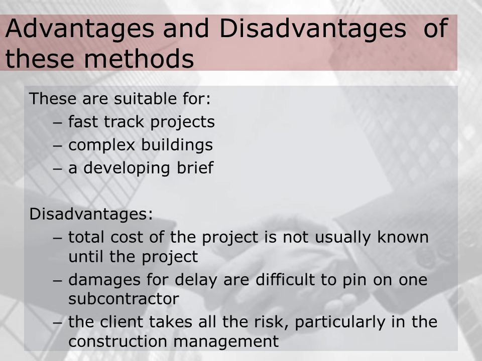 what are the advantages and disadvantages of financial risk management? essay Financial risk management is the practice of creating economic value in a firm by using financial instruments to manage exposure to risk similar to general risk management, financial risk management requires identifying its sources, measuring it, and plans to address them.