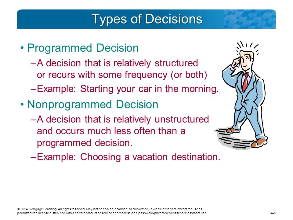 example of programmed decisions and nonprogrammed decisions What is this an example of a  chapter 12 true/false 1 since programmed decisions are novel and poorly  nonprogrammed decisions are repetitive and well.