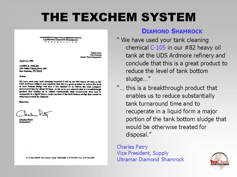 THE TEXCHEM SYSTEM DIAMOND SHAMROCK