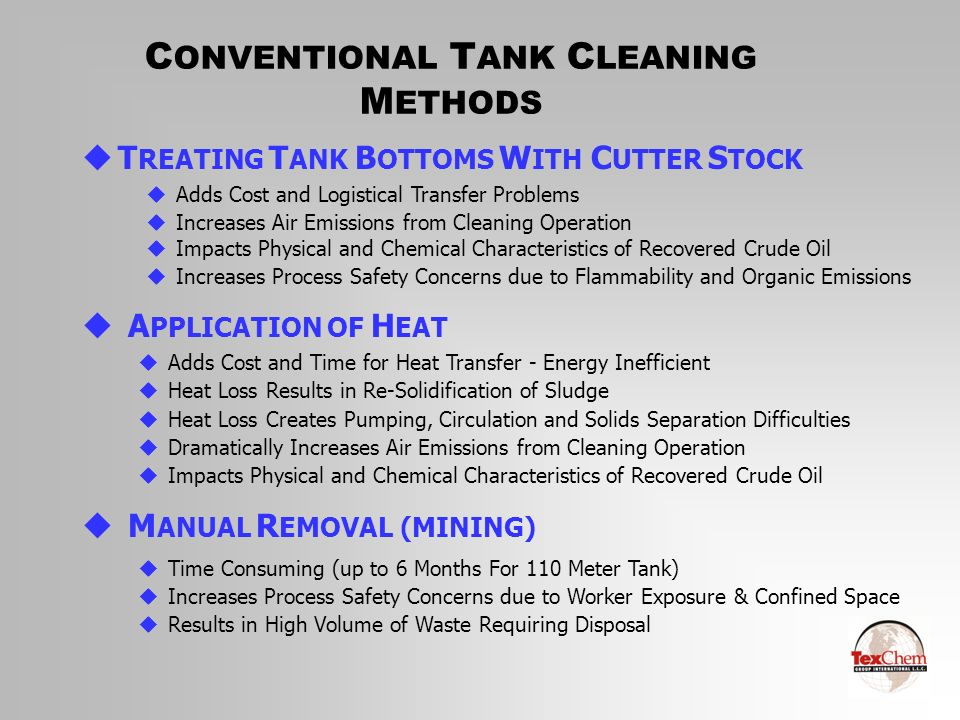 CONVENTIONAL TANK CLEANING METHODS