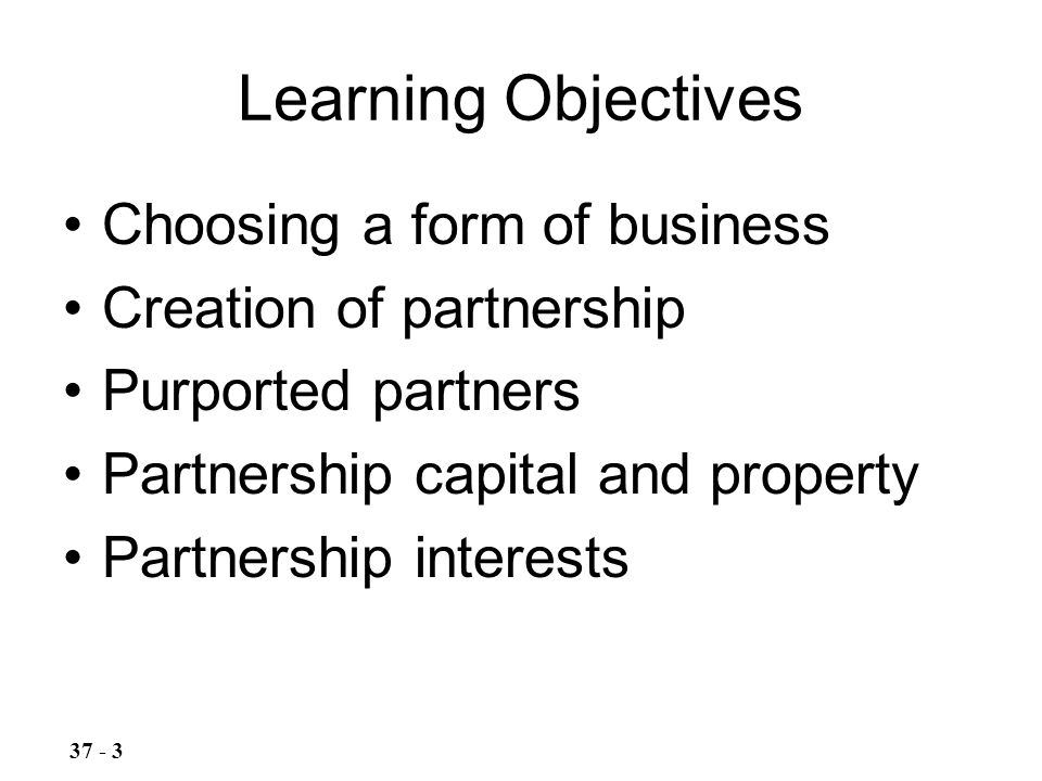 9 Partnerships Introduction to Forms of Business and Formation of ...
