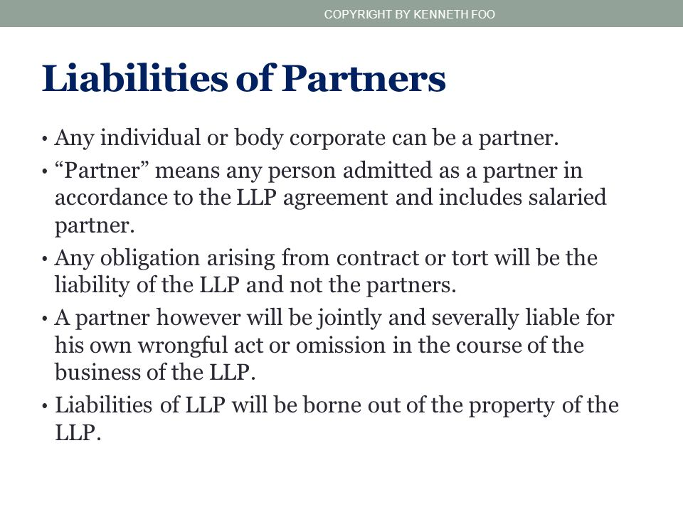 Liabilities of Partners
