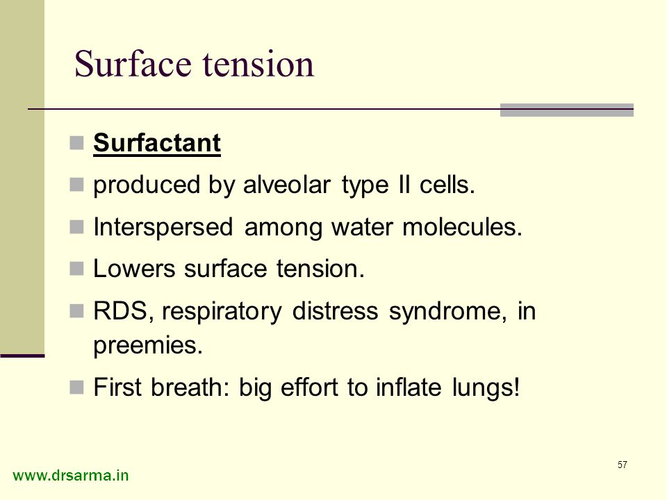 alveolar surface tension and surfactant in Chapter 10 reviews pharmacologic agents termed surfactants, which are intended to alter the surface tension of alveoli and the resulting pressures needed for alveolar inflation.