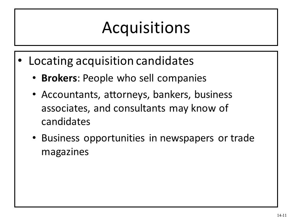 Acquisitions Locating acquisition candidates
