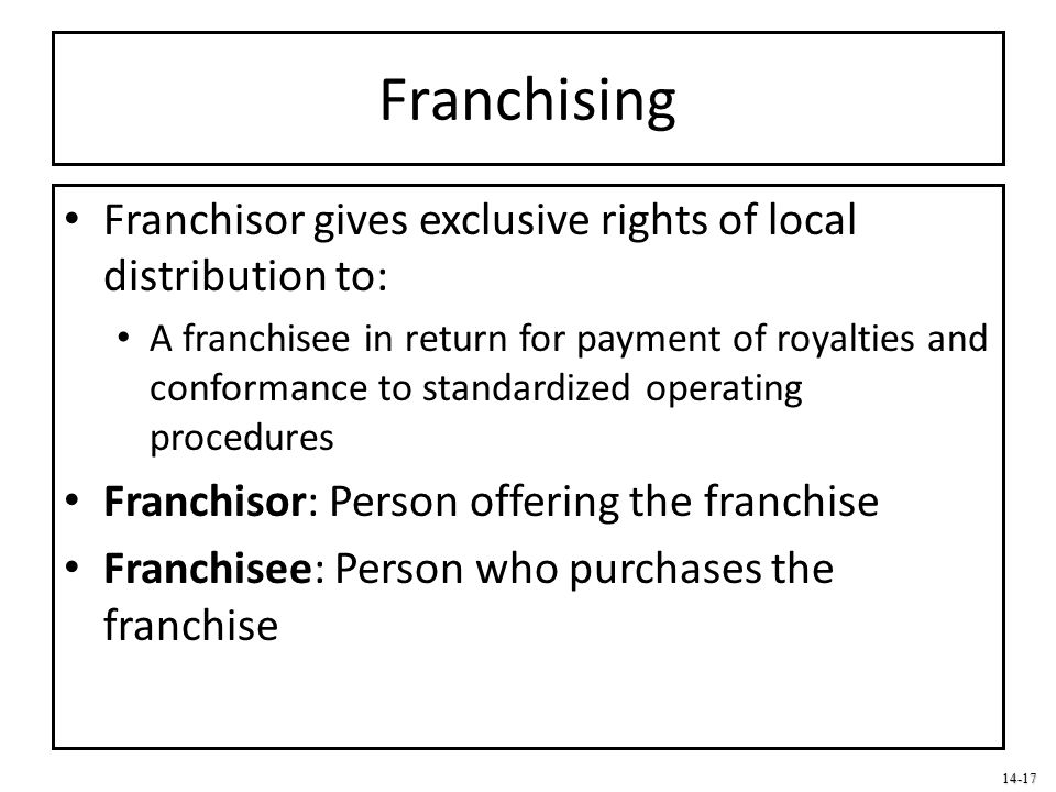 Franchising Franchisor gives exclusive rights of local distribution to: