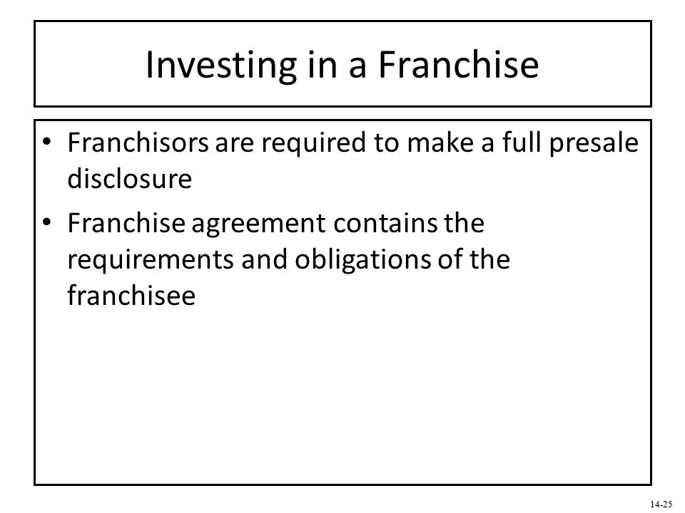 Investing in a Franchise