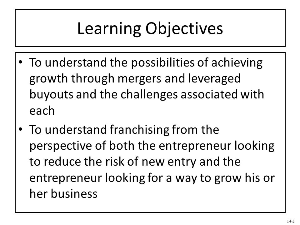 Learning Objectives To understand the possibilities of achieving growth through mergers and leveraged buyouts and the challenges associated with each.