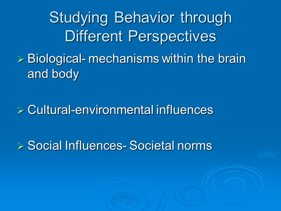 different perspectives of psychology How do modern psychologists explain human behavior there are many  different perspectives when looking at questions and issues in.