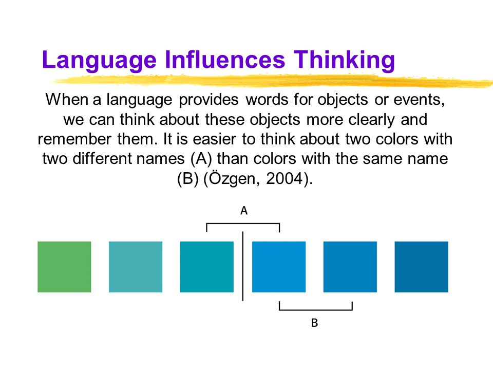 how language influence thinking Does the language you speak influence how you think studies show that our language affects how we experience the world, playing a role in everything from how we save for retirement to the colors we see.