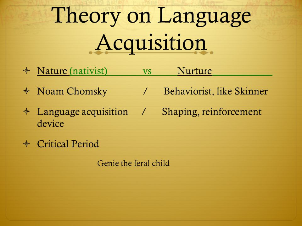 genie language acquisition Adolescent first-language acquisition 683 important to note that these conclusions are based primarily on the fact that genie did not produce these forms, even though the bulk of curtiss's.