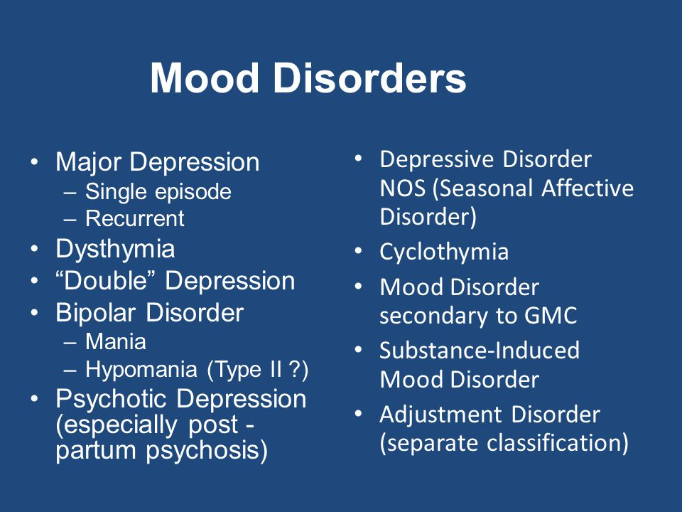 moods disorders Handout – mood disorders how much of the population is affected by mood disorders each year, almost 44 million americans experience a mental disorder.