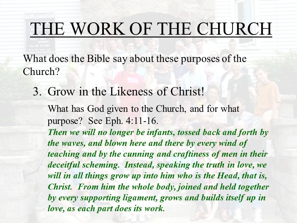 THE WORK OF THE CHURCH 3. Grow in the Likeness of Christ!
