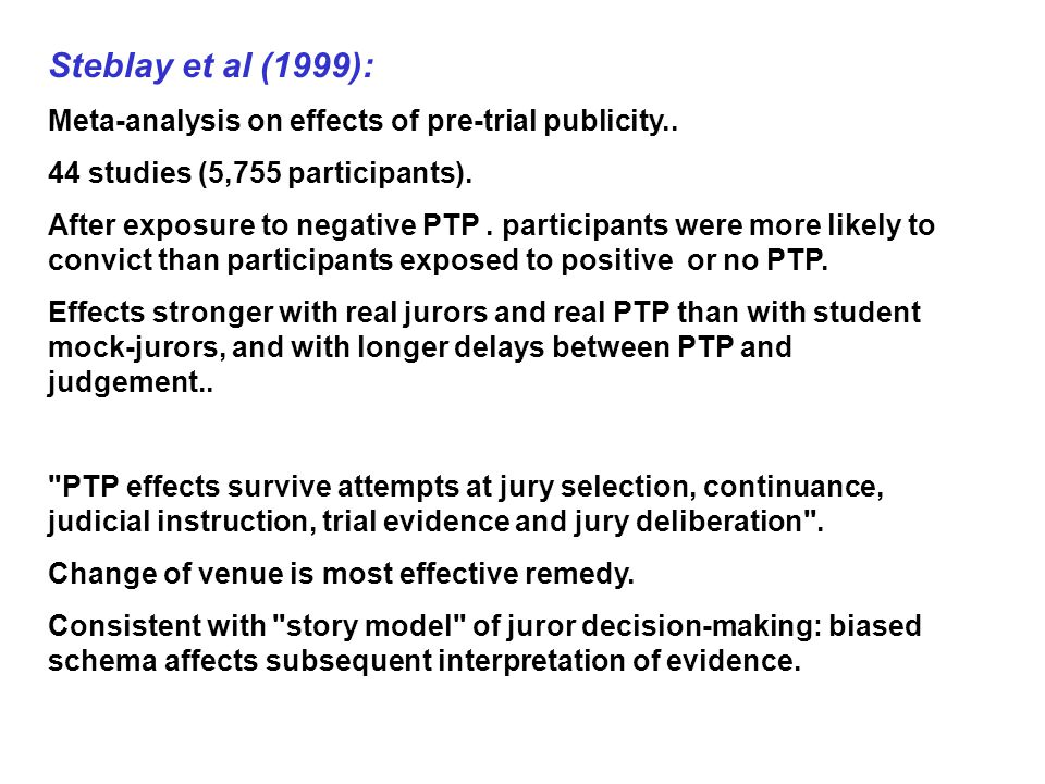 effects of pretrial publicity Hype and suspicion: the effects of pretrial publicity  race, and suspicion on  jurors' verdicts steven fein, seth jmorgan, michael i norton, and samuel r.