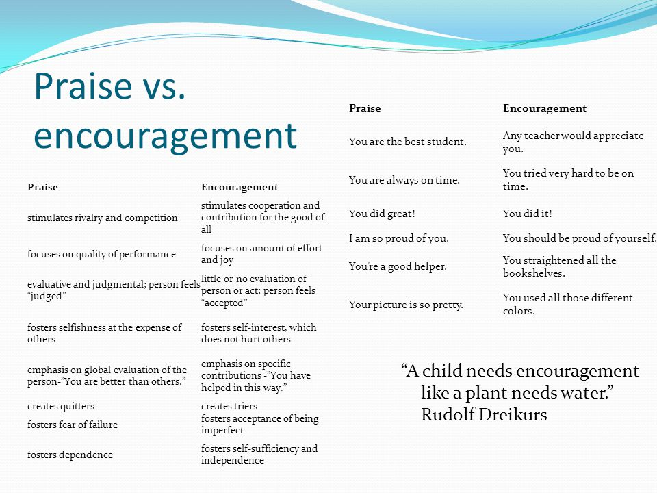 Praise vs. encouragement