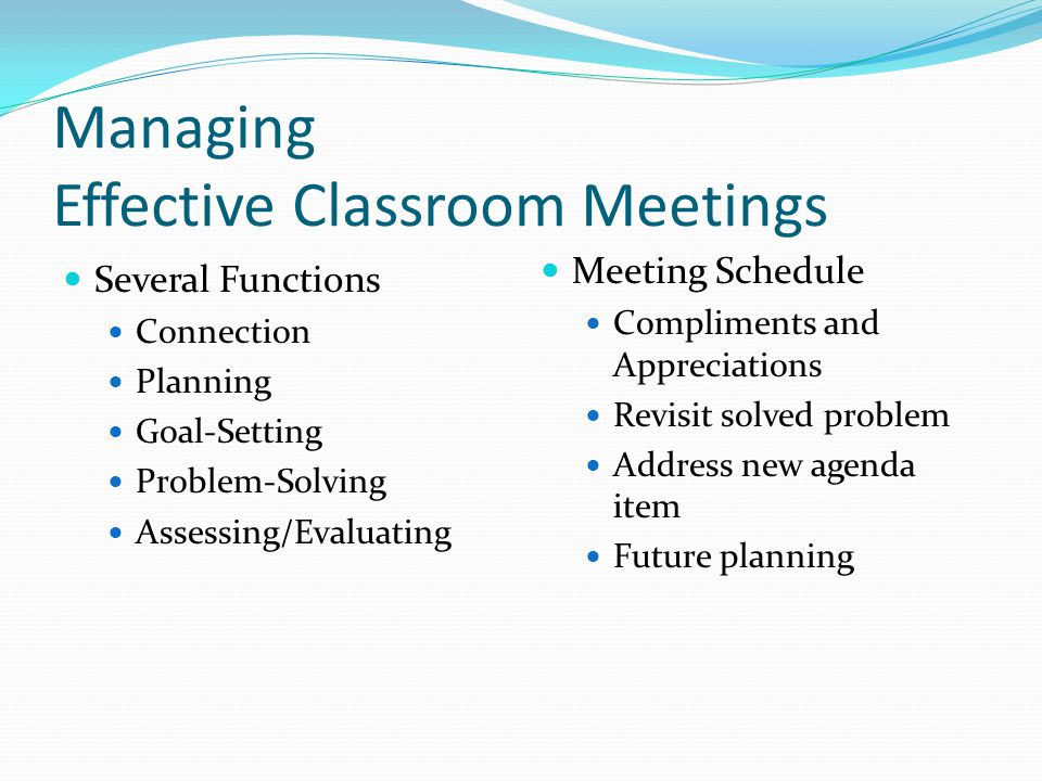 Managing Effective Classroom Meetings