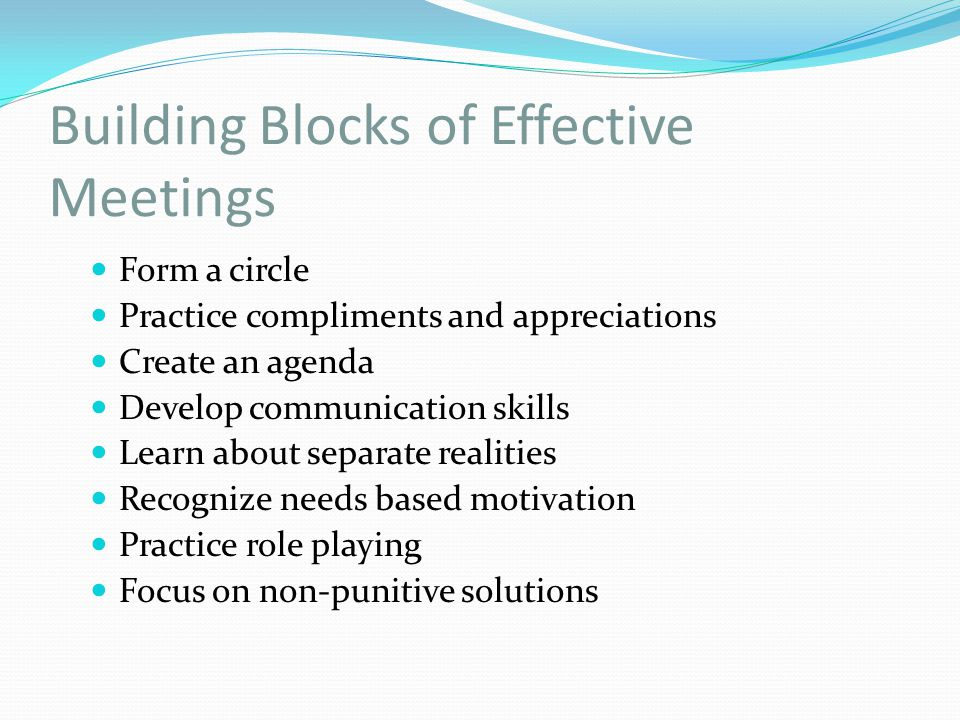 Building Blocks of Effective Meetings