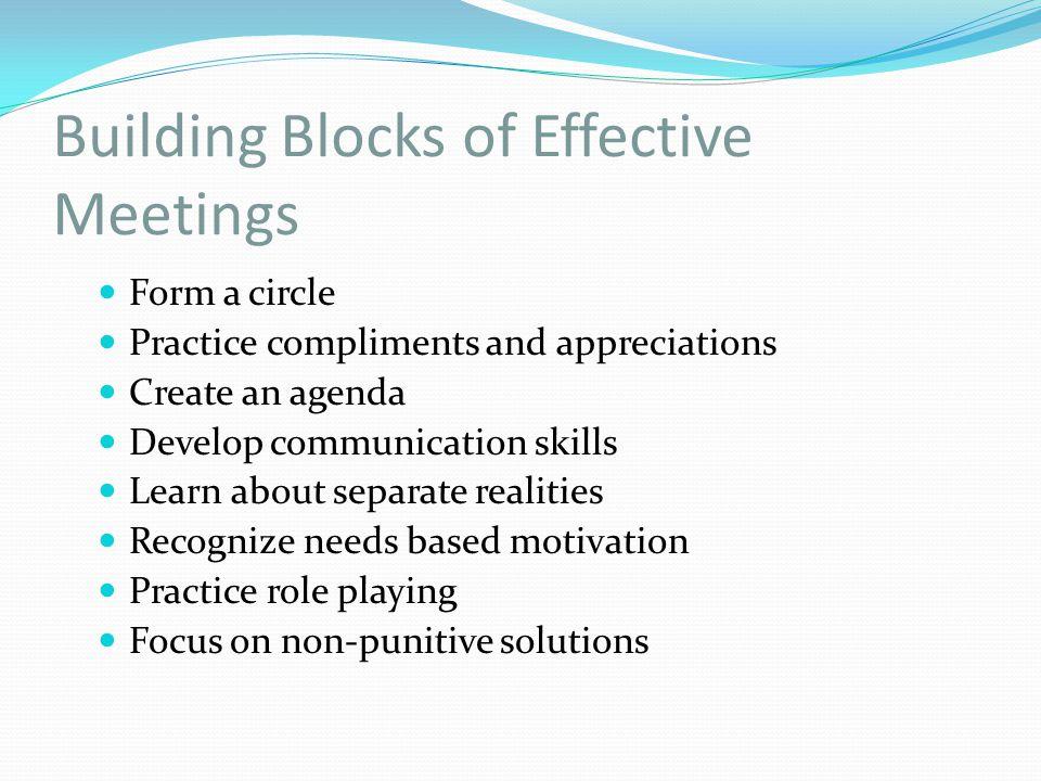 Building Blocks of Effective Meetings