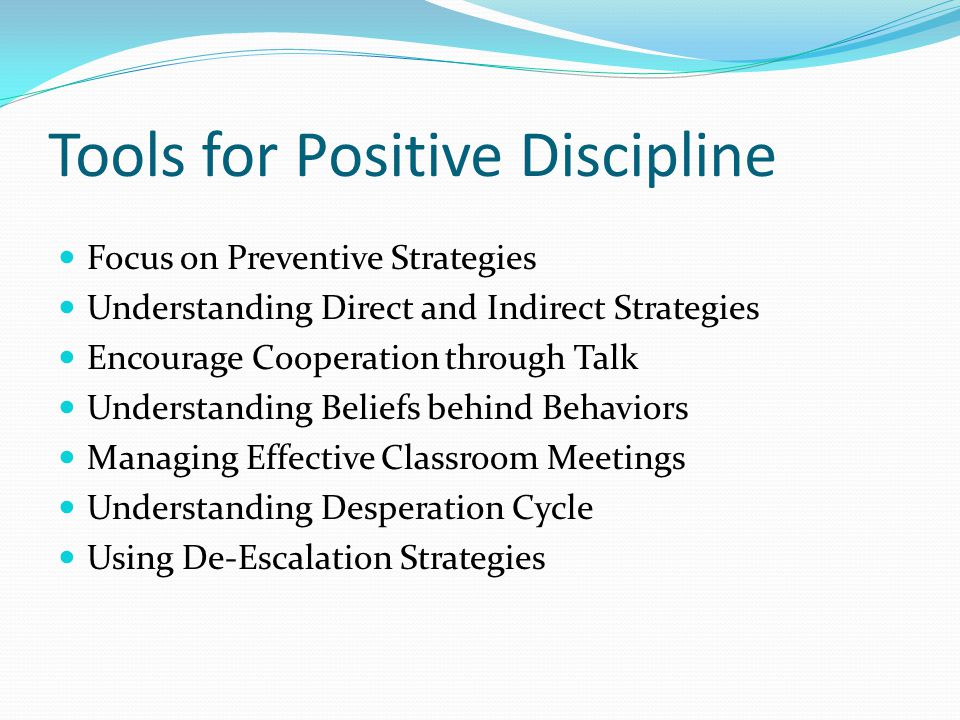 Tools for Positive Discipline