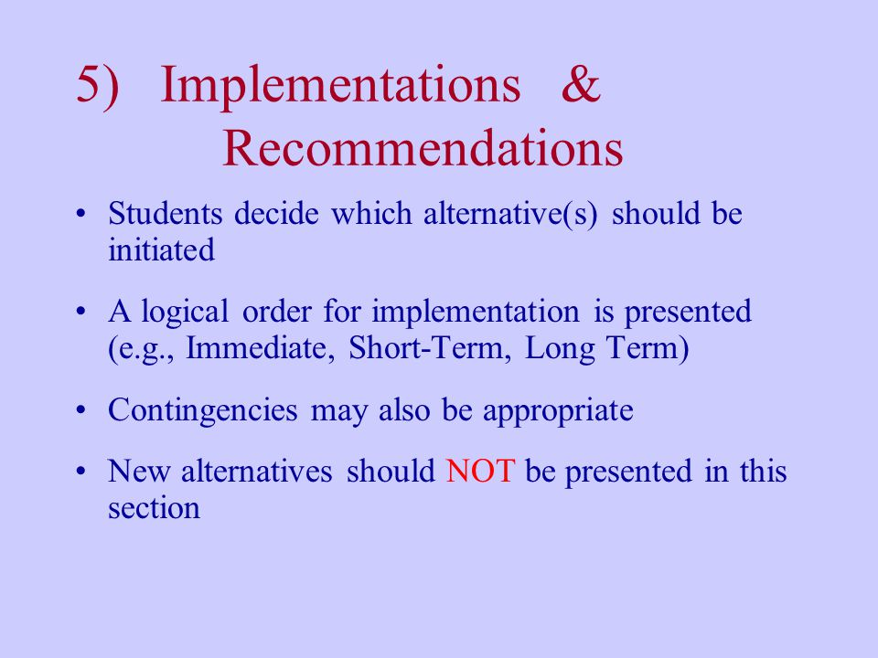 5) Implementations & Recommendations