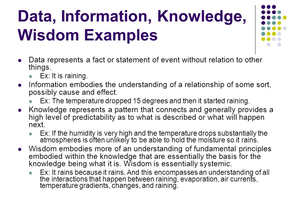relationship between data information and knowledge with examples