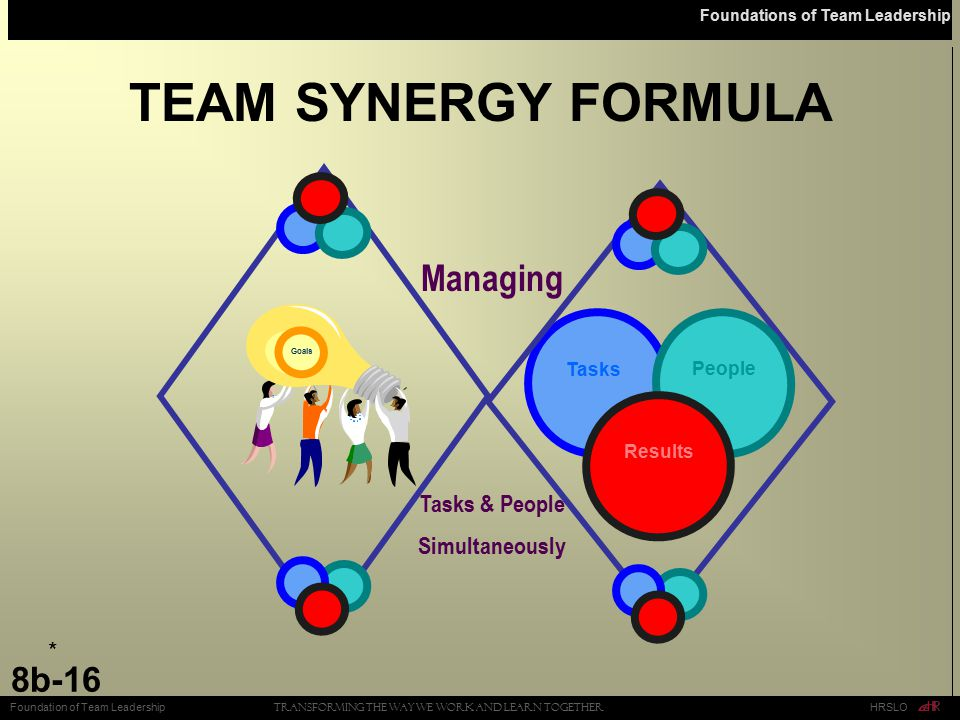 TEAM SYNERGY FORMULA Managing Tasks & People Simultaneously * Tasks