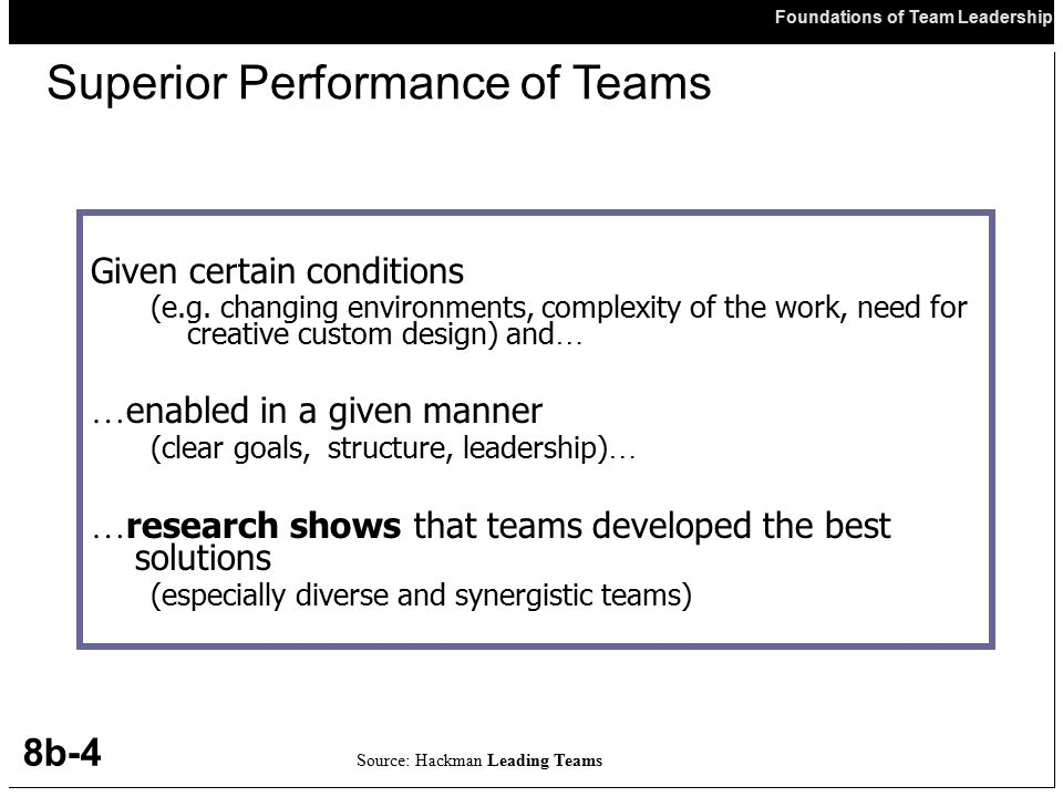 Superior Performance of Teams