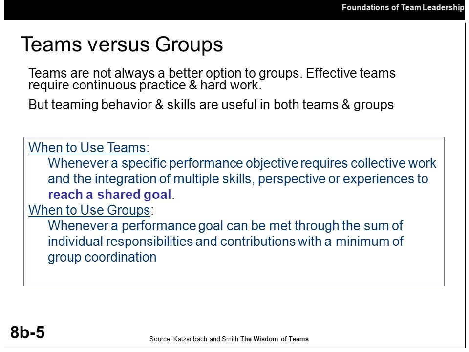 Teams versus Groups Teams are not always a better option to groups. Effective teams require continuous practice & hard work.