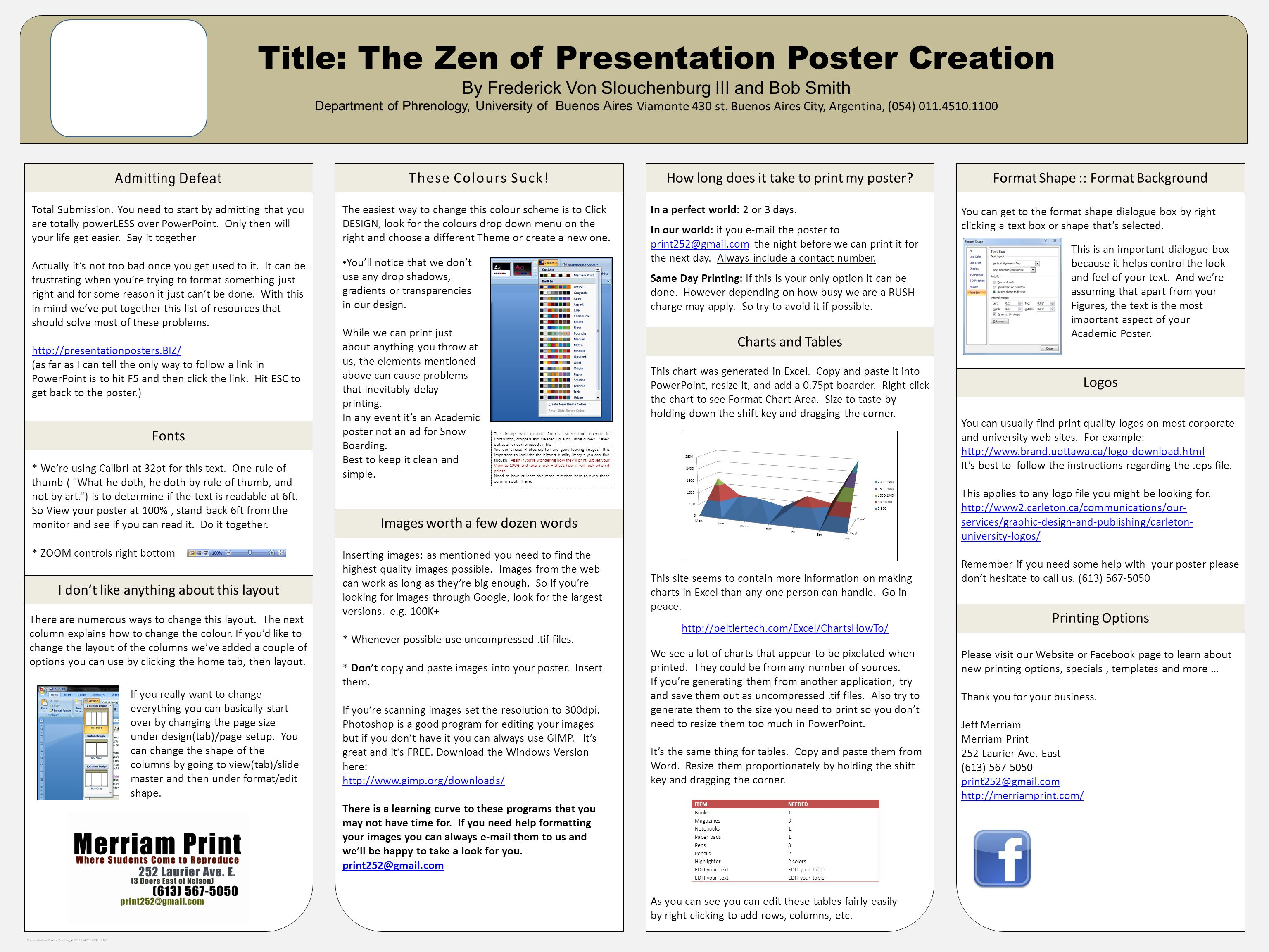 Title: The Zen of Presentation Poster Creation