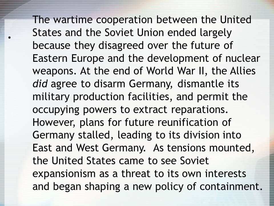 the contribution of the united states to the development of the cold war A summary of the first government of the united states in 's the founding and the constitution  treaty of paris ends the revolutionary war.