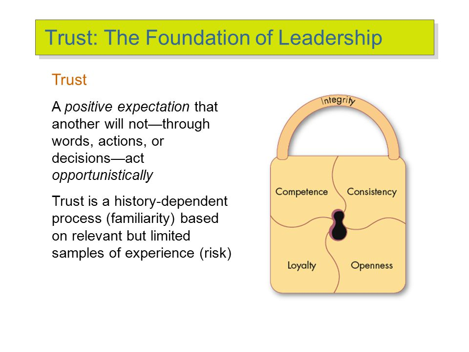 Dimensions of Trust Integrity Competence Consistency Loyalty Openness