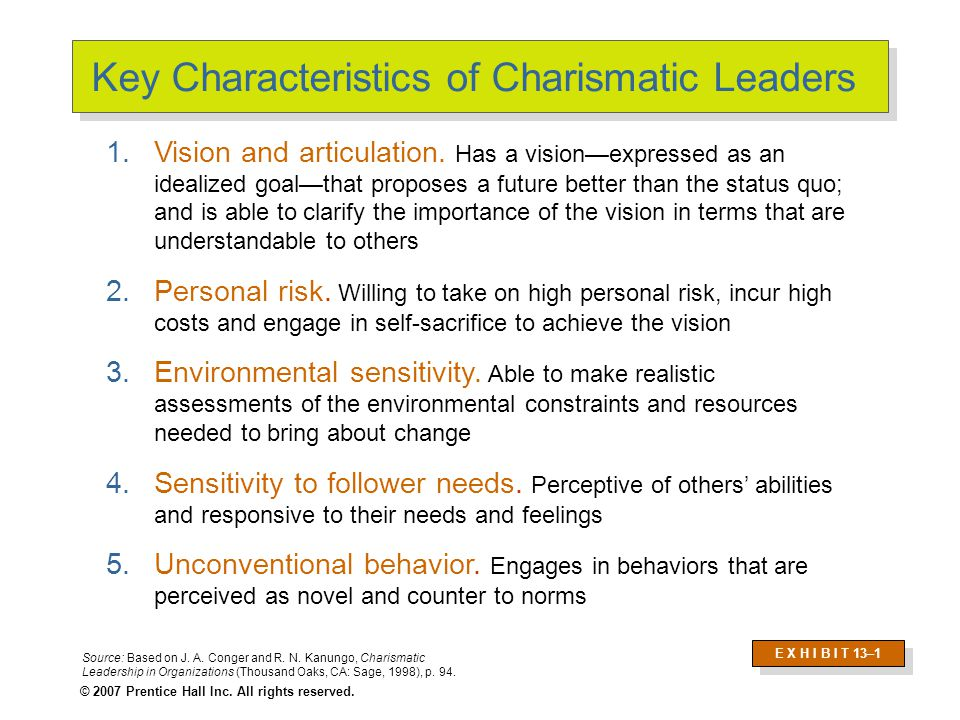 describe the leading characteristics of charismatic leaders