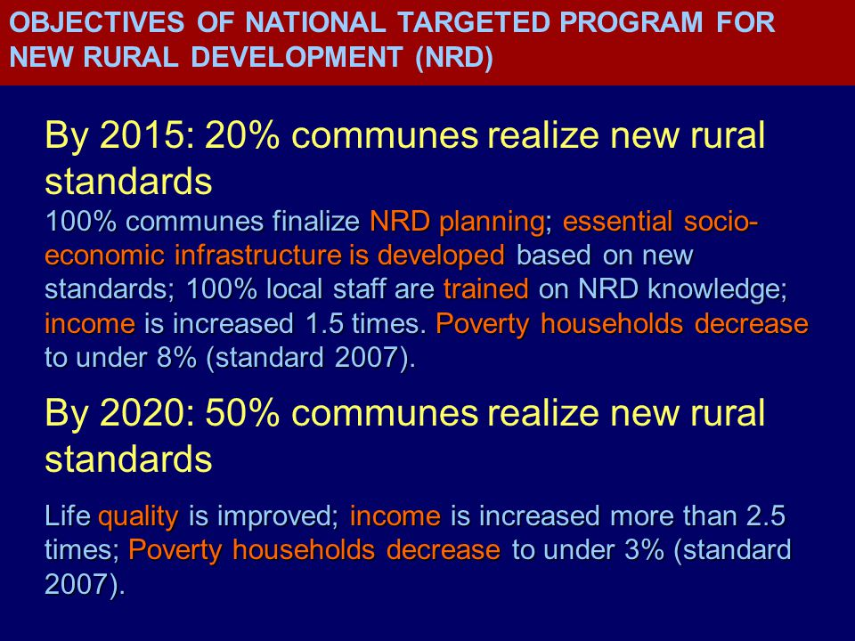 By 2015: 20% communes realize new rural standards