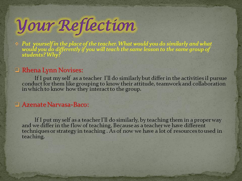 Your Reflection Rhena Lynn Novises: Azenate Narvasa-Baco: