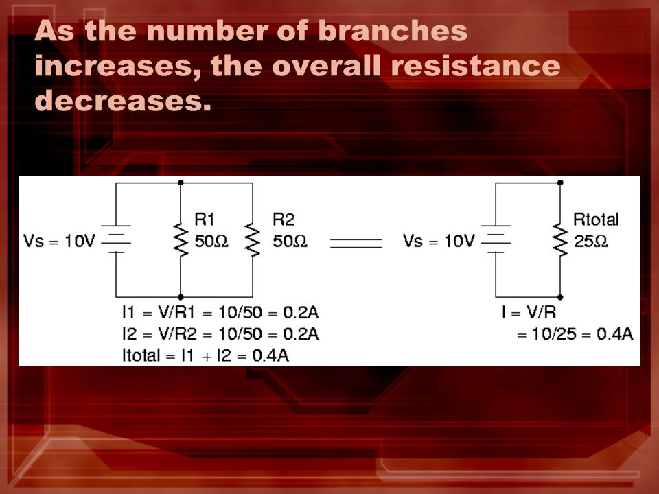 As the number of branches increases, the overall resistance decreases.