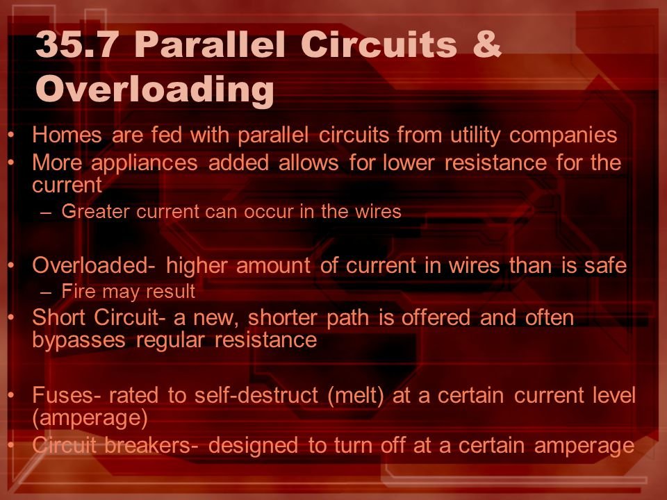 35.7 Parallel Circuits & Overloading